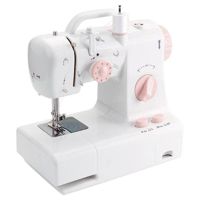 Mini Sewing Machine Fhsm-318 Built-In Light Household Multi-Function Crafting Mending Machine Design Easily Carried Eu Plug