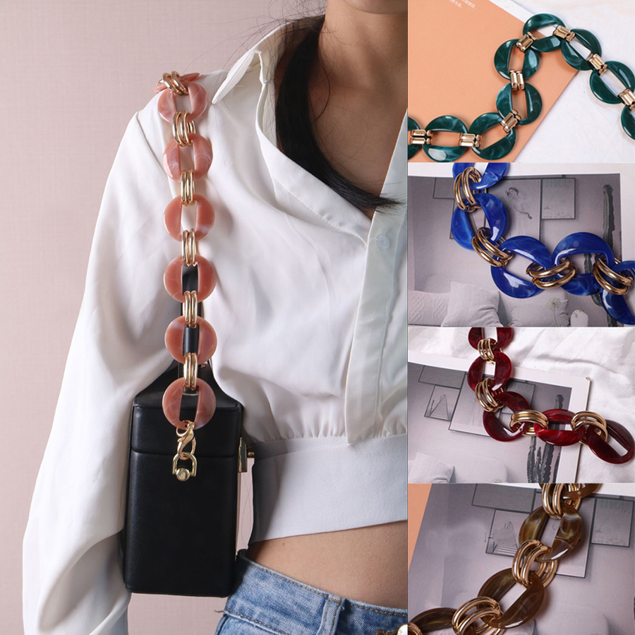 Brand 60-120cm Jelly Acrylic Alloy Strap DIY Resin Chain Handbag Plastic Strap Thick Shoulder Strap Bag Belts Bag Accessories