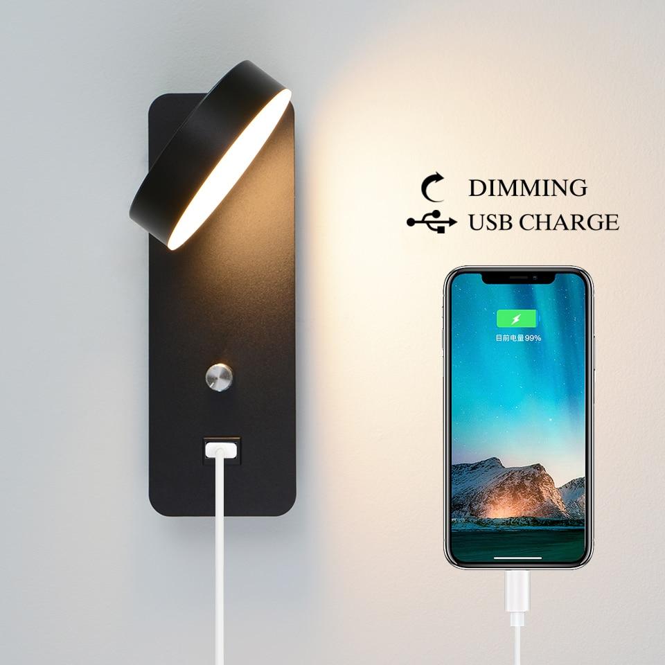 lampada de parede led botao interruptor regulavel carga usb luz parede 9 w branco preto iluminacao