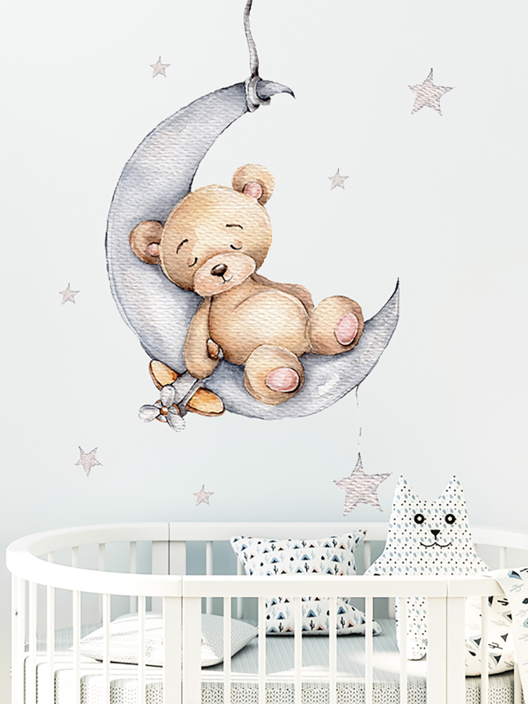 Cartoon Teddy Bear Sleeping on the Moon and Stars Wall Stickers for Kids Room Baby Room