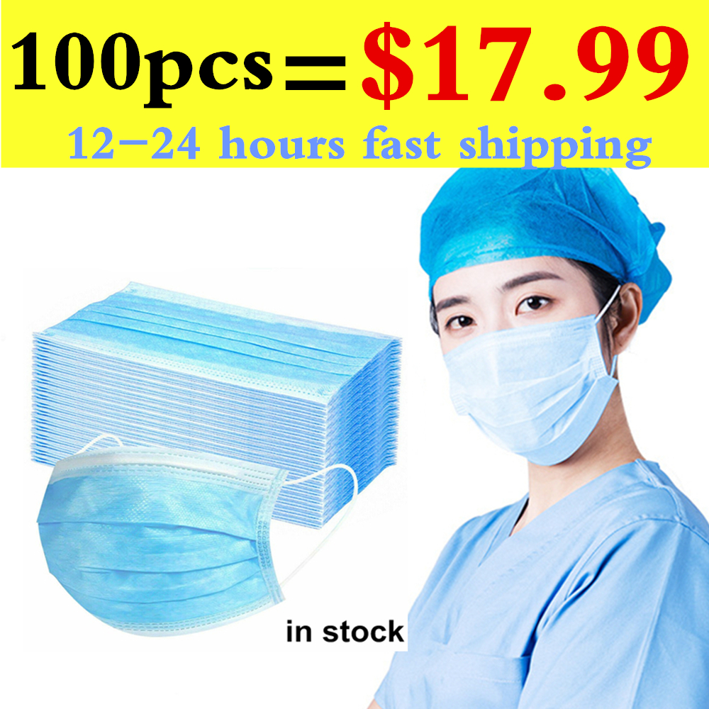 100pc Masks 3-Layer Face Mouth Mask Disposable Masque Respirator Non-woven Protective Masks Mascherine Mascarillas Fast Shipping