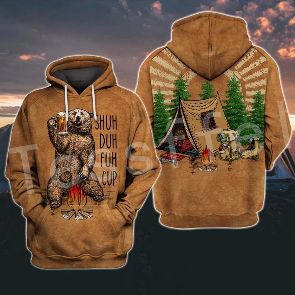 Tessffel Animal Bear Hunting I Hate People Love Camping Funny NewFashion 3DPrint Zipper/Hoodies/Sweatshirts/Jacket/Men/Women S11