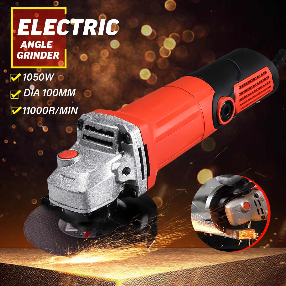 220V 1600W Electric Angle Grinder Anti-Slip Polishing Polisher Grinding Metal Stone Wood Cutting Woodworking Grinder Power Tool