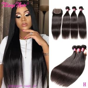 KLAIYI HAIR Malaysian Straight Hair Bundles With Closure 100% Human Hair Extension 3 Bundles With Closure Remy Hair FreeShipping(China)