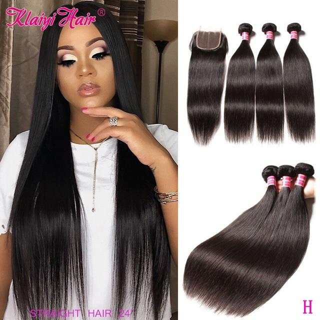 Klaiyi髪マレーシアストレートヘアの束で100% 人毛エクステンション3バンドルと閉鎖remy毛をfreeshipping