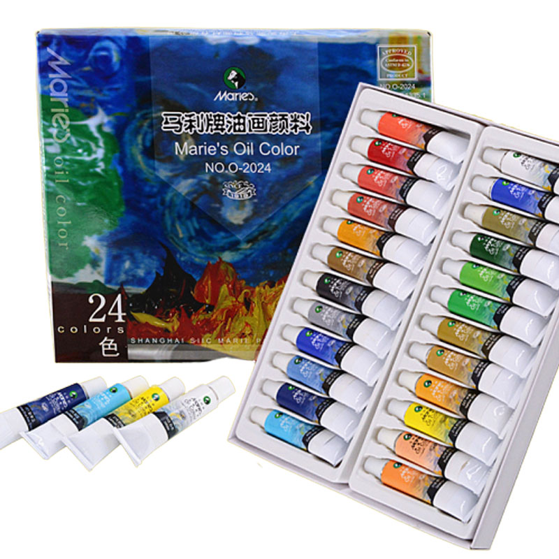 24 Colors 12ML Pigment Oil Paints Tube Oil Paint Set For Oil Painting Oil Colors For Artist Students Drawing Tools Art Supplies
