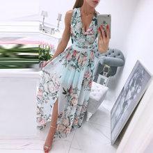 Elegant Floral Print Chiffon Long Dress Women 2021 Summer Sexy Deep V-neck Split Party Dress Lady Sleeveless Maxi Beach Dresses
