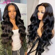 perruque longue cheveux humain Perruque body wave Lace frontal wig naturelle brésilienne | Cheveux humains, 13x4, bon marché, pour femmes africaines