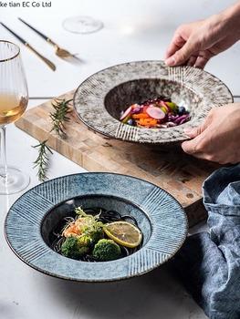 25 5CM kreatywny słomkowy kapelusz płyta ceramiczny okrągły talerz głęboki talerz zupy japoński hotel płytki talerz płytki talerz domu makaron płyta tanie i dobre opinie ROUND Stałe