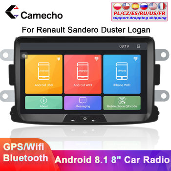 Camecho 2 din Android 8.1 Car Multimedia Player 8'' HD Touch Car Radio GPS Autoradio for Renault Sandero/Duster/Logan/Doker image