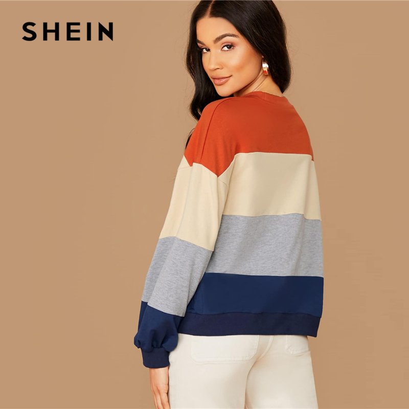 SHEIN Colorblock Striped Casual Autumn Sweatshirts Women Tops Winter Round Neck Bishop Sleeve Multicolor Basic Ldies Sweatshirts 2