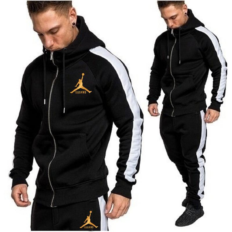 2019 New Men's Sportswear Hoodie Pants Suit Spring Track Suit Suit Casual Sportswear Men's Sweatshirt Jacket Men's Jogging Pants