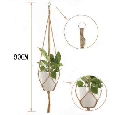 Завязанная Подвеска для растений из макраме крючок Винтаж хлопок белье цветочный горшок корзина подъемная веревка подвесная корзина горшок держатель садовые инструменты - Цвет: 90cm