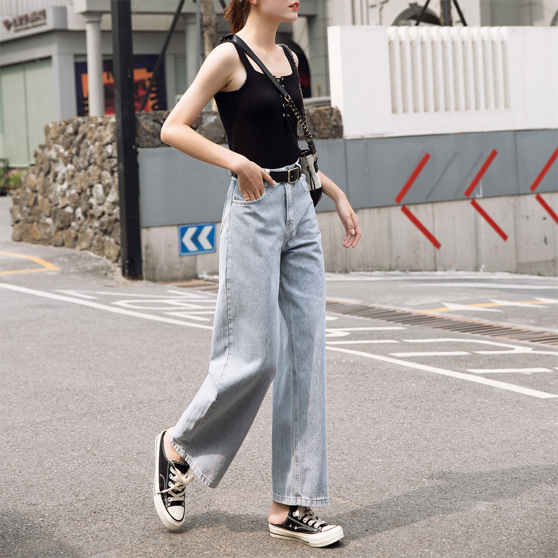 High waist   jeans   women loose denim pants loose street wear falre pants 9F16
