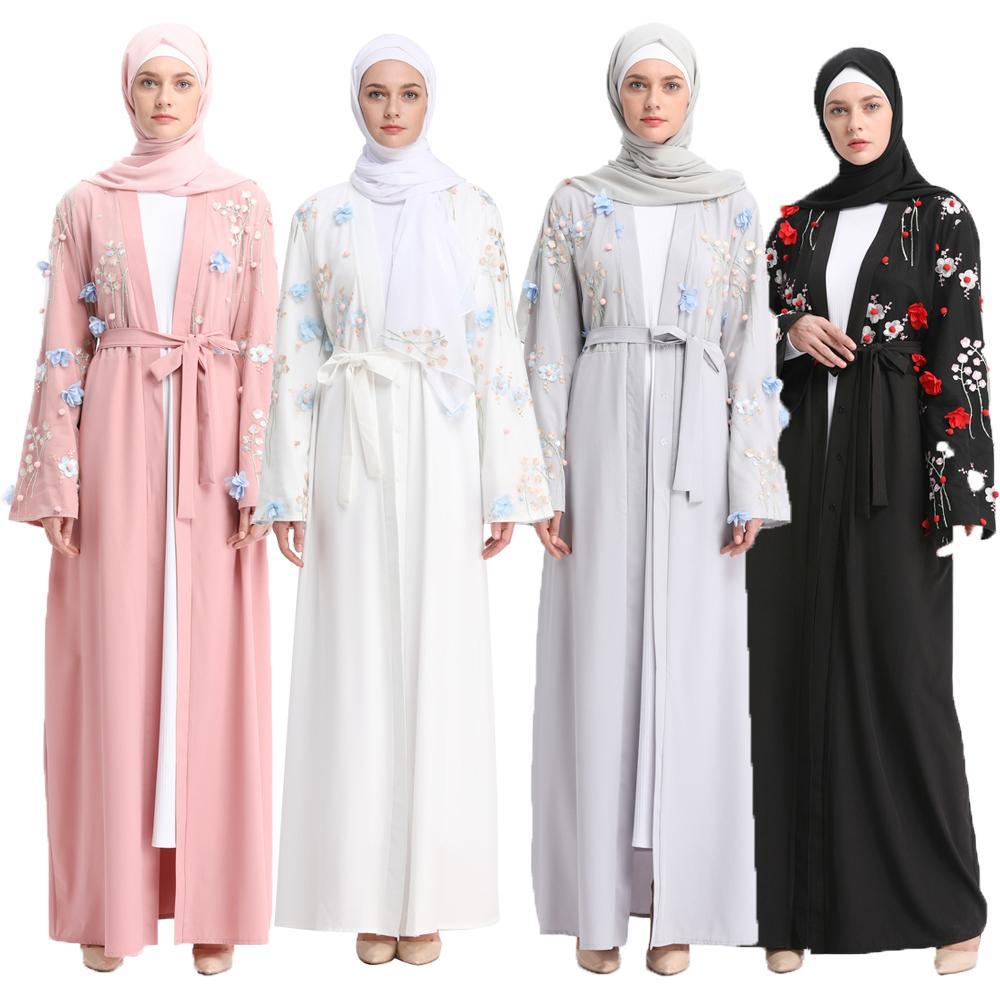 Abaya Jilbab fleur dubaï ouvert Kimono à manches longues Cardigan Robe musulmane Robe islamique caftan turc culte Service vêtements