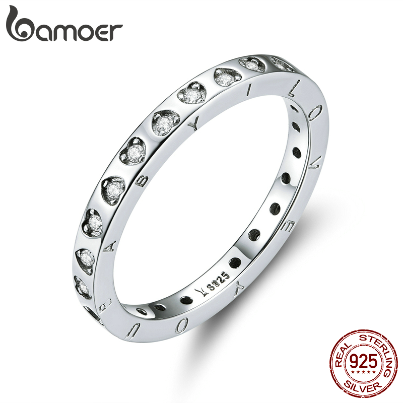 Bamoer Engagement Wedding Band Genuine 925 Sterling Silver Minimalist Promise Finger Rings For Women 2020 Bijoux Moda SCR633