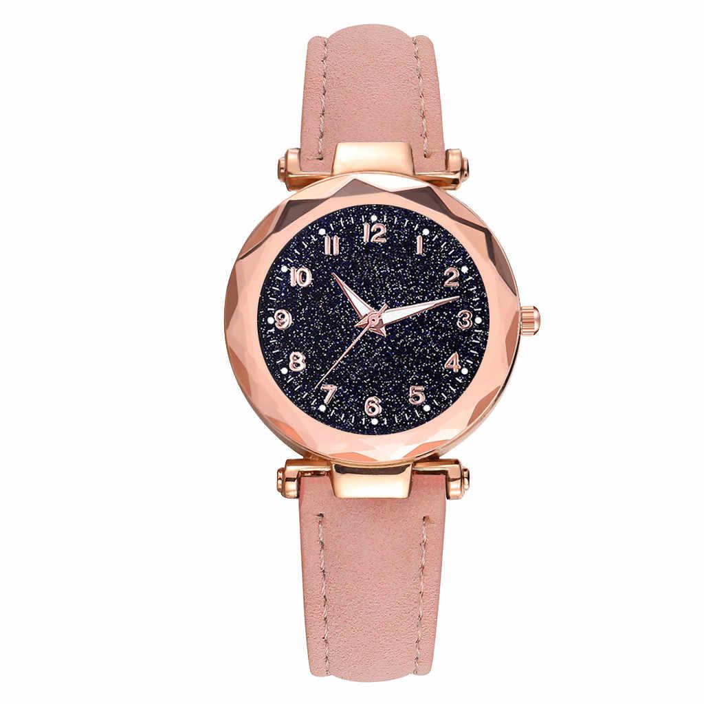 Dames Horloges 2019 Merk Luxe Nieuwe Mode Casual Lederen Band Analoge Quartz Zwart Kristallen Zegarek Damski Dames Horloge
