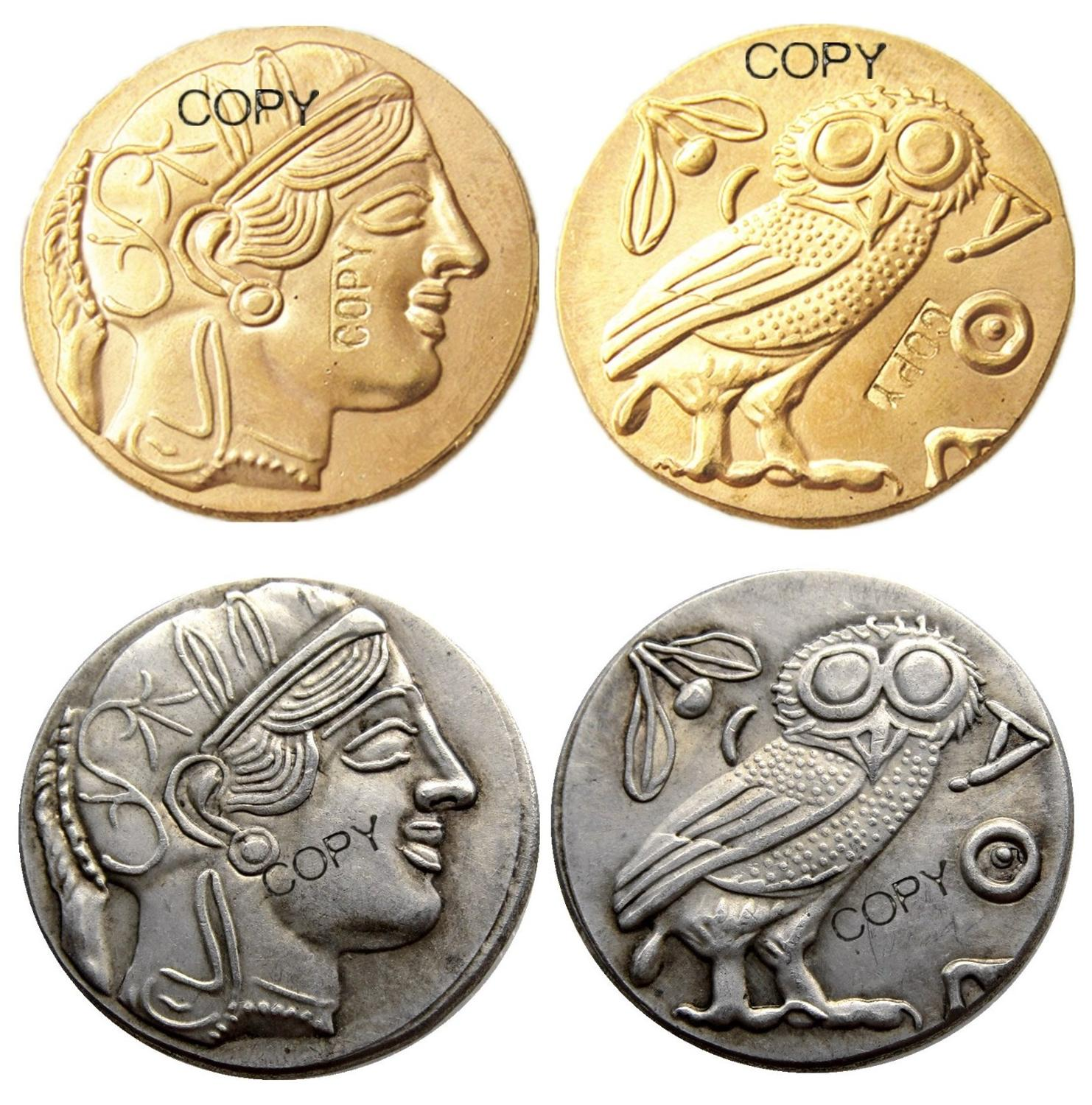 G(04)Ancient Athens Greek Silver Drachm - Atena Greece Silver Plated/Gold Plated copy coin