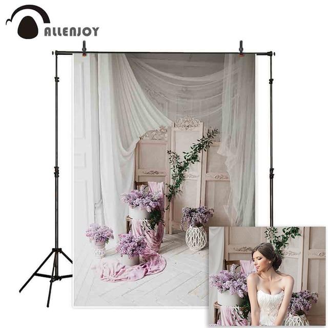 Allenjoy Photography backdrop wedding flower Vintage decorated wooden floor window background photocall photobooth photo shoot