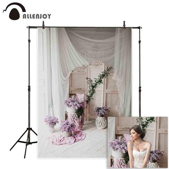 Allenjoyแจกันถ่ายภาพฉากหลังดอกไม้ตกแต่งVintageไม้ชั้นหน้าต่างพื้นหลังPhotocall Photobooth Photo Shoot