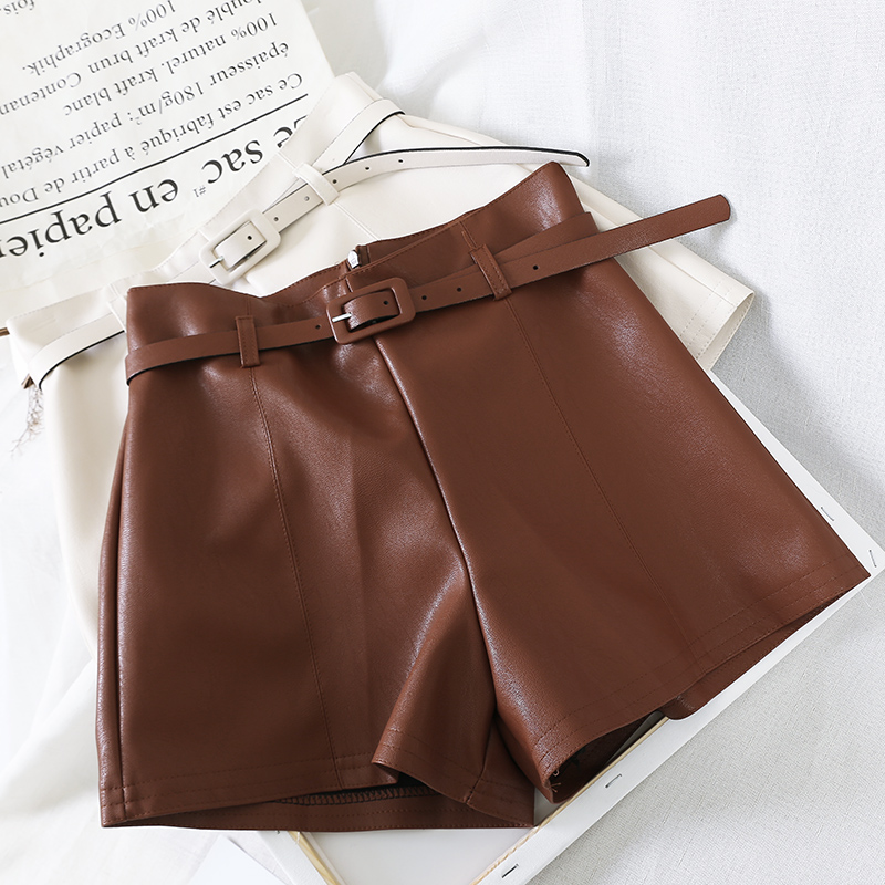 Korean Fashion PU Leather Shorts Women 2019 Autumn Winter High Waist Belt A-line Wide-leg Short Casual Female Leather Shorts