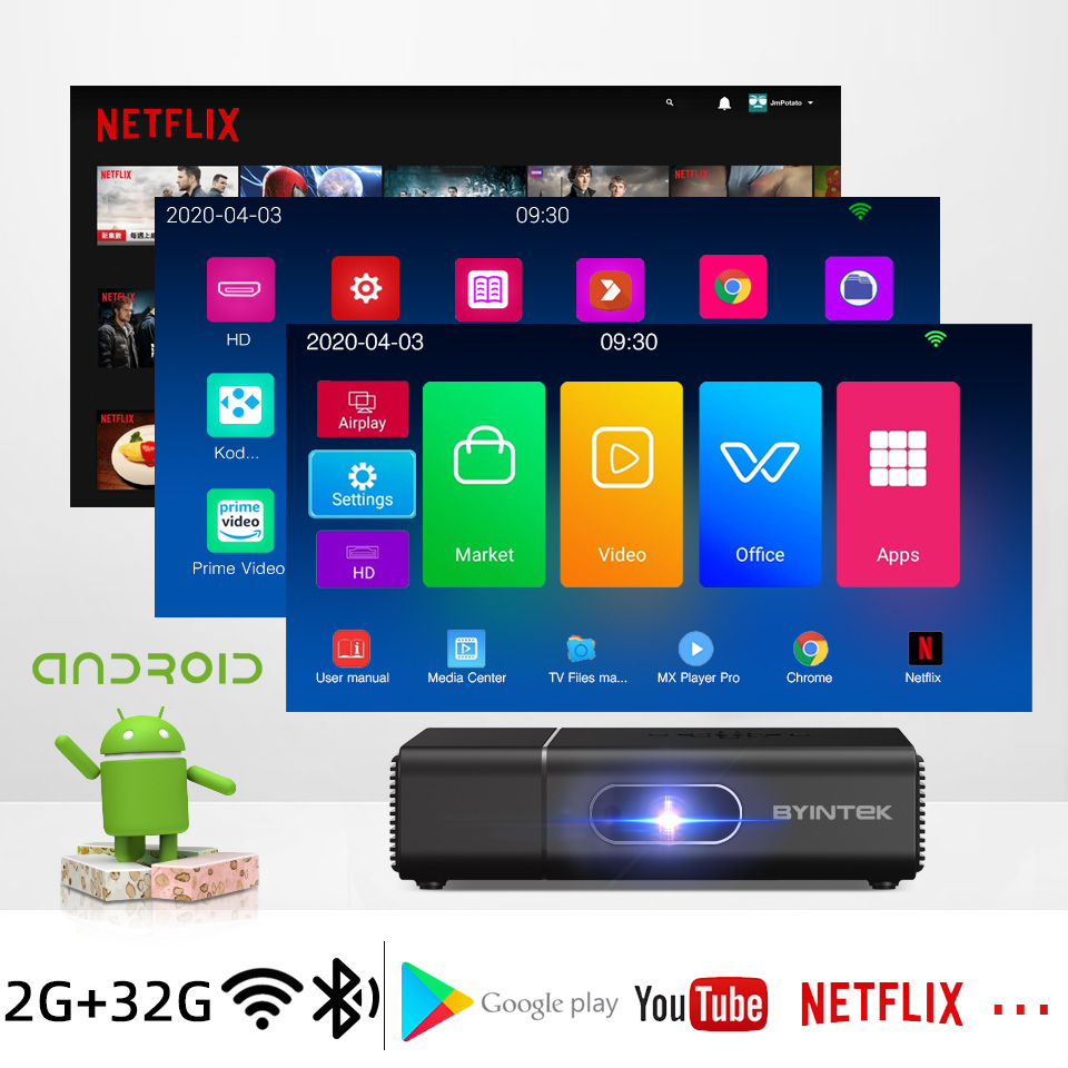 BYINTEK U30 Full HD1080P 2K 3D 4K Android Smart Wifi 300 polegada Mini Projetor portátil laser Home Theater led dlp Proyector Beamer-2