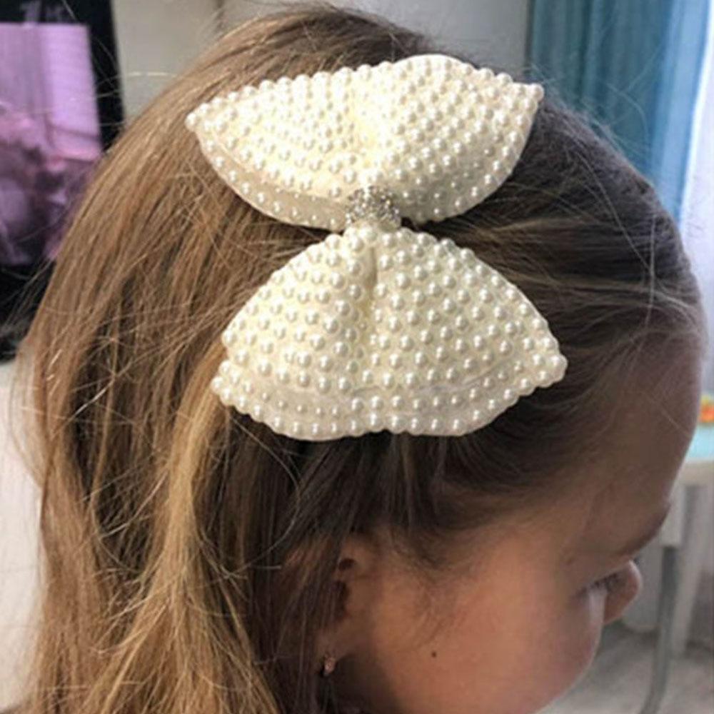 Bows Hair Clip White Pearl Hair Bows Clips For Girls Kids Hair Accessories Bling Rhinestones Women Bowknot Hair Clip Hairpin