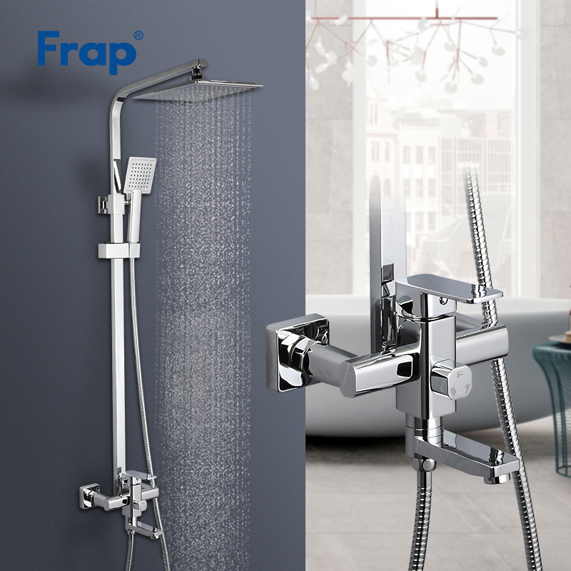 Frap dusche armaturen dusche system badewanne mixer wasserhahn bad regen dusche set wasserhahn bad ABS dusche kopf edelstahl dusche bar