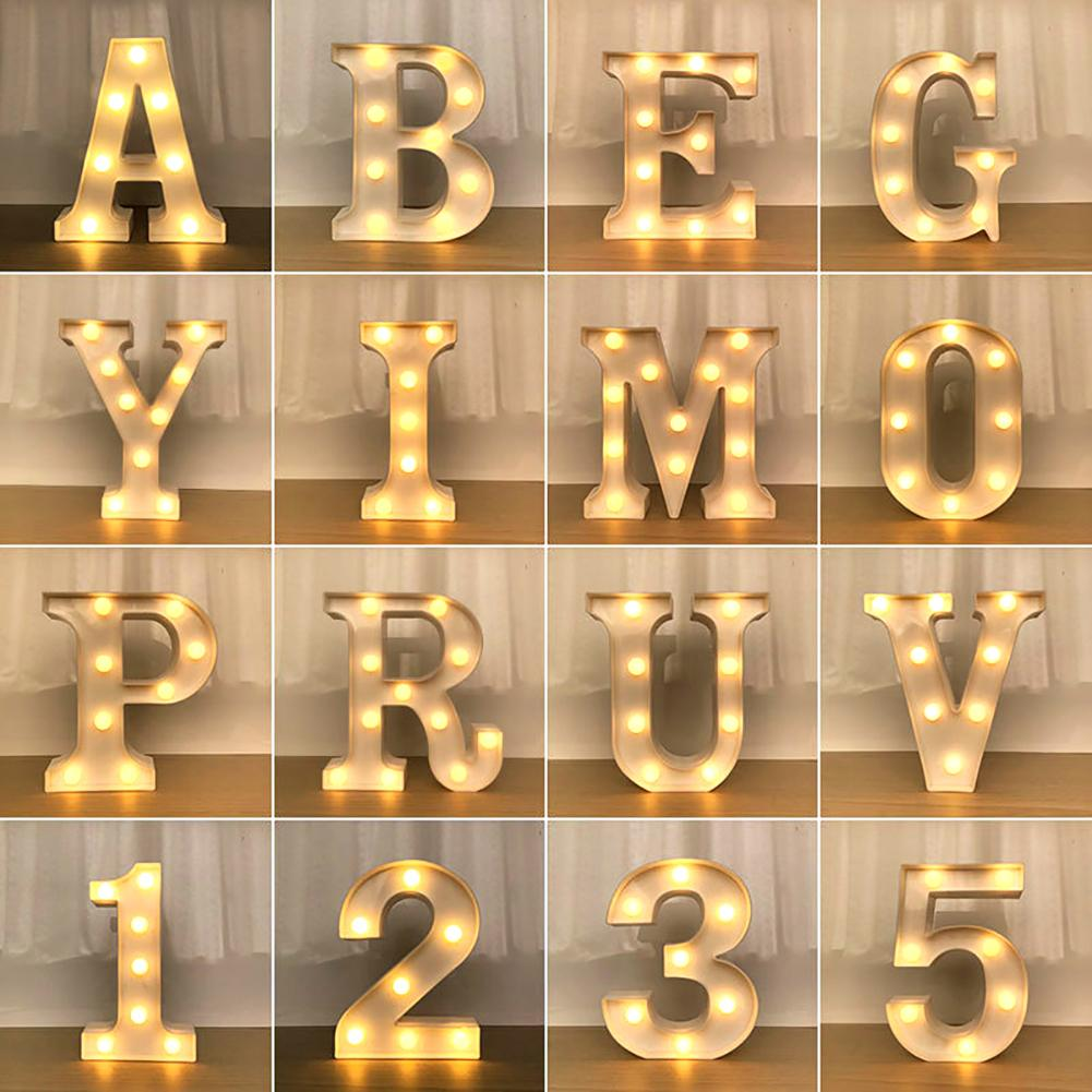Alphabet 26-Letter 0-9 Number LED Sign Wall Hanging Night Light Party Wedding Christmas Bar Home Holiday Decor