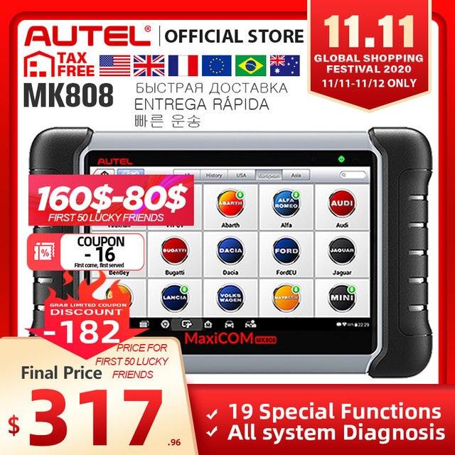 Autel MaxiCOM MK808 OBD2 סורק Automotivo רכב כלי אבחון OBD 2 EScaner TPMS קוד קורא OBDII מפתח קידוד CRP 909X CRP909