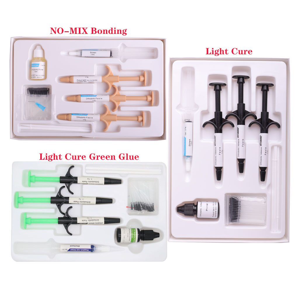 Dental Orthodontic Adhesive Kit Light Cure Green Glue NO-MIX Direct Bonding System Ortho Resin