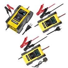 Foxsur 12v/24v carregador de bateria de carro 6a 12.6v carregador de bateria de lítio carregador de bateria inteligente para a motocicleta