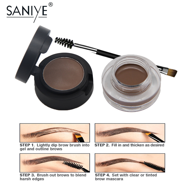 SANIYE 2 in1 Eyebrow Gel Waterproof Powder Eye Brow Gel Cream With Brush Eyebrow Enhancers Cosmetic Eye brow Tint Pomade 1