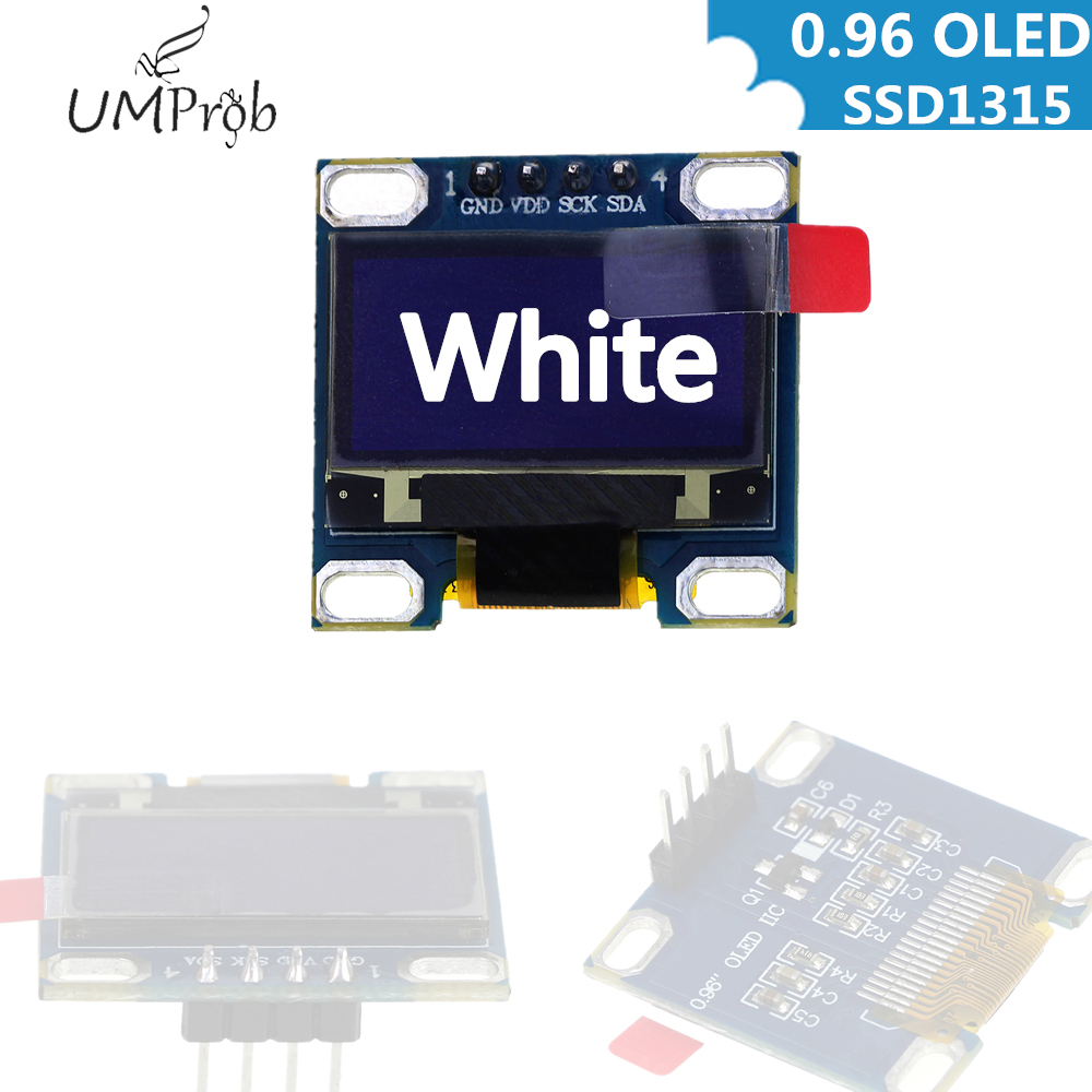 0.96 Inch IIC Serial White OLED Display Module 128X64 I2C SSD1315 12864 LCD Screen Board GND VCC SCL SDA 0.96
