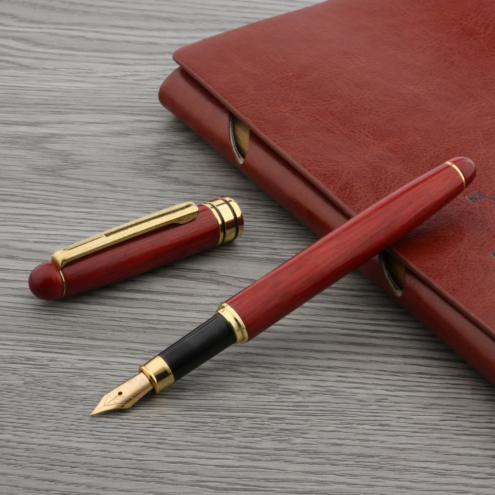 Red Wood Golden Trim M Nib Pen With Student Ink Refill Gift Fountain Pen
