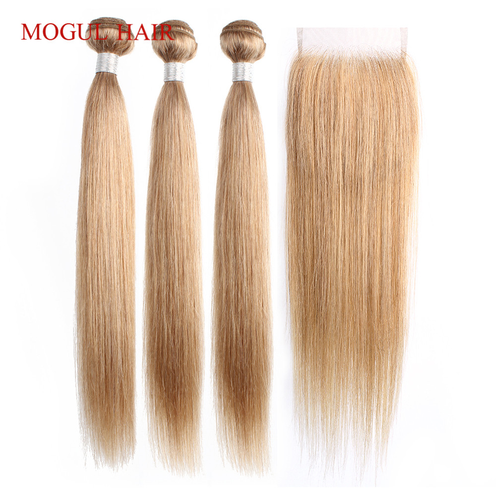 Bobbi Collection 2/3 Bundles With Lace Closure Color 8 Ash Blonde #27 Honey Blonde Indian Straight Non Remy Human Hair 16