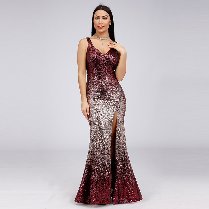 Evening Dresses Sheath V-neck Ankle-length Sleeveless Wedding Guest Party Gowns Cheap Long Prom Dress