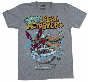 Настоящие Монстры Мужская футболка оригинальный мультфильм группа под логотипом