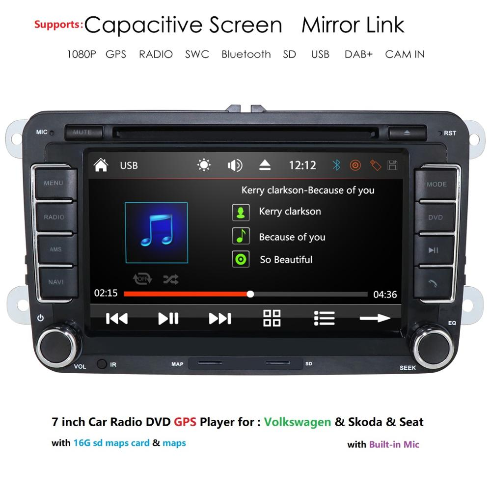 Ossuret 7'' <font><b>2</b></font> <font><b>din</b></font> Car DVD Radio Player GPS Navigation for <font><b>VW</b></font> <font><b>Golf</b></font>/<font><b>6</b></font>/<font><b>Golf</b></font>/5/Passat/b7/cc/b6/SEAT/Skoda Bluetooth FM Stereo Player image