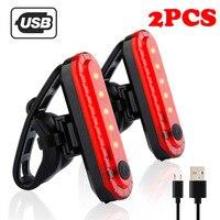 2pc Rot USB Aufladbare Bike Fahrrad Radfahren 4 Modi LED Front Hinten Schwanz Licht Lampe Outdoor Sport Bike Licht fietsverlichting