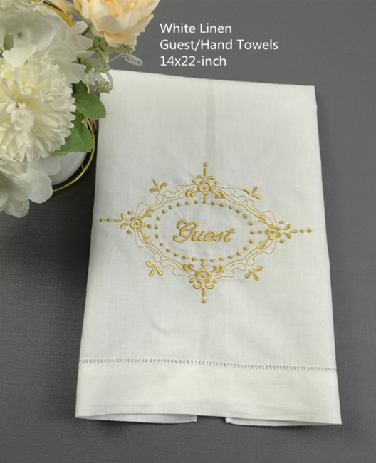 Set Of 12 Fashion Towels White Linen Hemstitched Tea Towel Cloth Guest Hand Dish Kitchen Bathroom Towels With Embroidery Floral