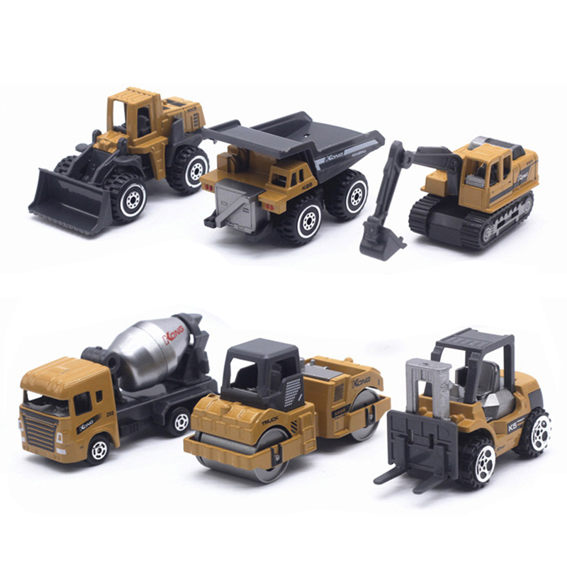 6PCS/Set 1:64 Bulk Cement Pneumatic Delivery Tanker Tower Crane Road Roller Ball Dozer Motor Grader Cars Model Toys For Children
