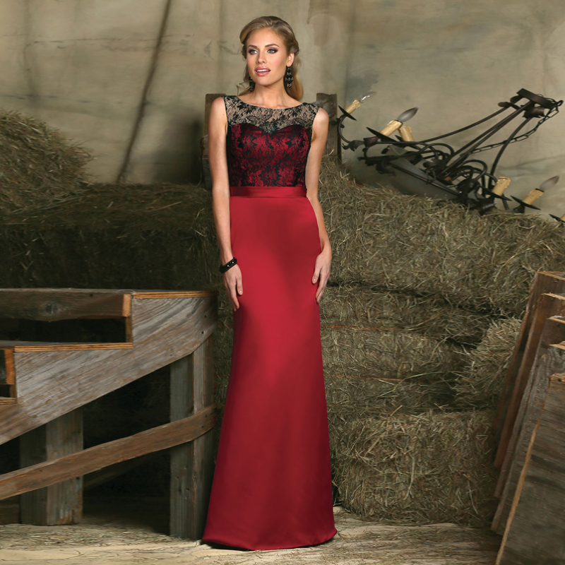 New Elegant Scoop Neck Red Evening Gown Sleeveless Sexy Keyhole Back Lace Satin Long Vestido Longo Mother Of The Bride Dresses