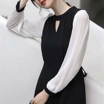Elegant Solid Dress Women Office Lady O-Neck Sexy Slim Black Dress Evening Party Long Sleeve Midi One-Piece Dress Korean 2020 2019 spring new women half sleeve loose flavour black dress long summer vestido korean fashion outfit o neck big sale costume