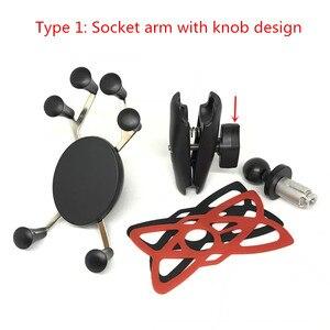 Image 2 - Jadkinsta Fork Stem Base with 1 inch Ball Plus Double Socket Arm Universal X Grip Bracket Holder for Cellphone