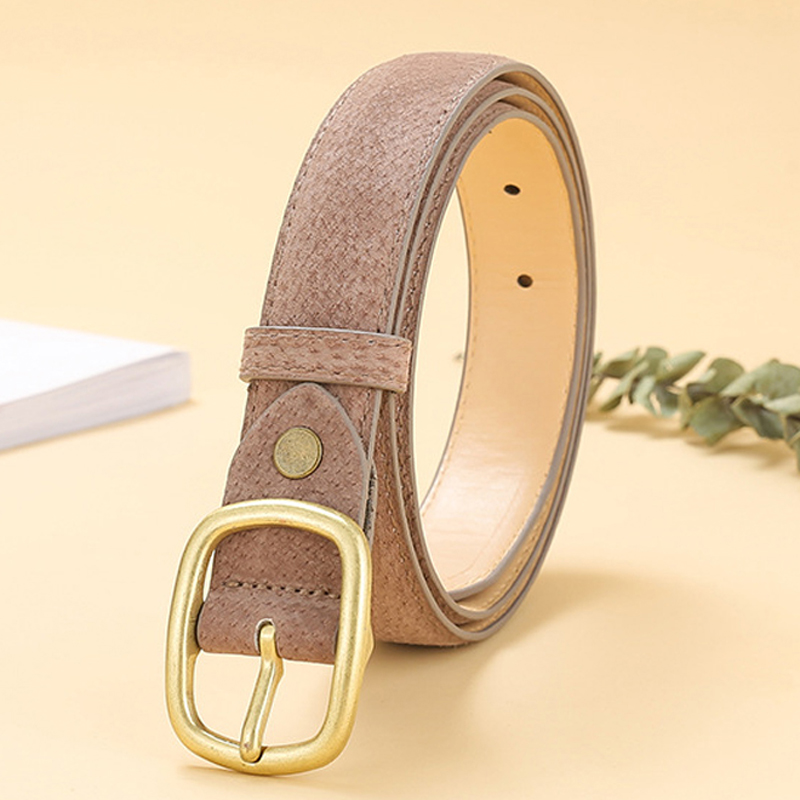 ELIsfashion Pigskin Genuine Leather Belt Luxury Strap Dress And Jeans Belts Fashion For Women classic Matt Golden Buckle 9 Color