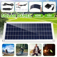 40W DC 18V Portable Flexible Solar Cell Board Solar Panel Battery Charger Crocodile Clips Car charger For Phone RV Car