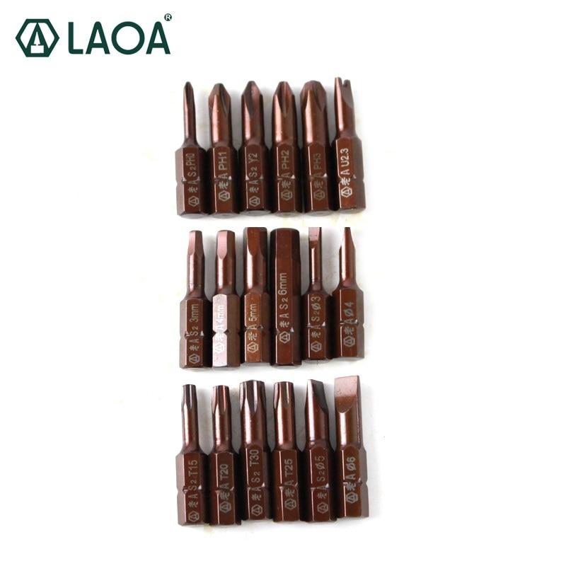 LAOA Screwdriver Bit 1PC S2 Alloy Steel 32mm Long 6.3mm Diameter Slotted Phillips Hex Torx Y-type U-type Magnetic Bits