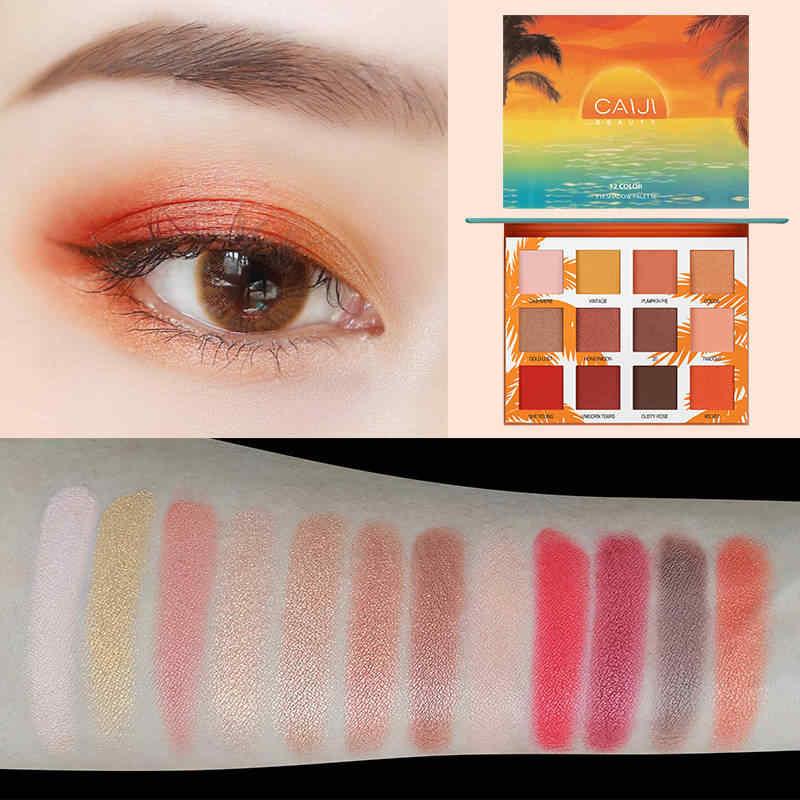 12 цветов Палитра теней для век, матовое мерцание, блеск, женские открытые тени для век, пудра, водостойкая пигментированная