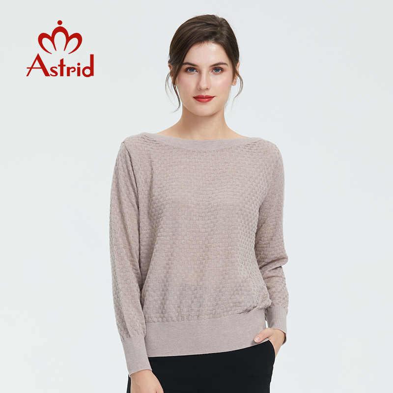 Astrid 2019 Autunno nuovo arrivo maglione delle donne di alta qualità di nuovo stile di modo di colore beige di cotone sottile vestiti delle donne di autunno 9801